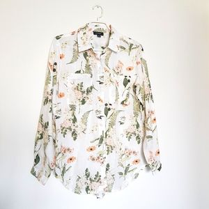 Lord & Taylor 100% Linen Floral Buttondown Shirt